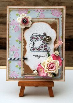 Just a card on a stand can be quite pretty - shabby chic card