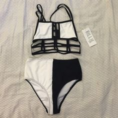 Bikini Two piece bikini. Top is lined and is not see thru, cage fit and is true to size. Bottoms are high wasted,  size small, never been worn protective lining has been removed. Swim Bikinis. Use code JEELM and receive a $10 credit on your first purchase after downloading and registering in Poshmark!