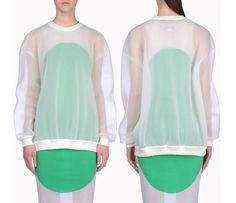 Stella McCartney White Long Sleeves Airtex Jumper - This fabric is SICK