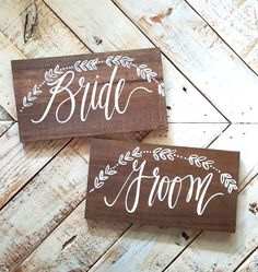 Bride and Groom Chair Signs with Laurel Wreath, Rustic Wooden Wedding Signs, Photo Prop Signs, Boho Wedding   10x5.5 Set by ThePaperWalrus on Etsy https://www.etsy.com/listing/164713192/bride-and-groom-chair-signs-with-laurel