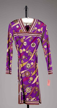 Dress, 1974, purple silk patterned with flowers. Designed by Emilio Pucci, Italian.