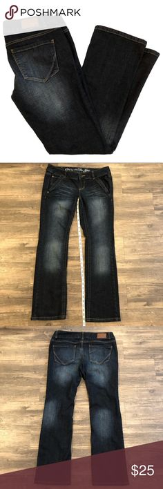 """CONVERSE One Star """"Trinity Boot"""" Jeans! Size 12. CONVERSE One Star """"Trinity Boot"""" Jeans! Size 12. Dark wash with factory fading and creasing. 2"""" waistband. Excellent used condition. Converse Jeans Boot Cut"""