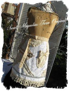 Farmhouse Romance Lace Apron Rustic Romance by SweetMagnoliasFarm, SOLD to a Good Home
