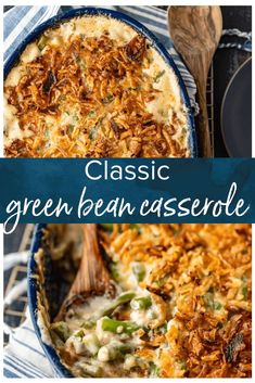 Classic Green Bean Casserole is one of those Thanksgiving recipes that you don't need to reinvent. It's absolutely perfect just the way it is, with green beans, cream of mushroom, crunchy fried onions, and some other awesome ingredients. Greenbean Casserole Recipe, Casserole Recipes, Thanksgiving Recipes, Holiday Recipes, Thanksgiving Green Bean Casserole, Holiday Meals, Christmas Casserole, Thanksgiving Sides, Classic Green Bean Casserole