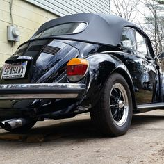 Paul Terry Jr, from Birmingham, Alabama, U.S.A. His 1979 Black Super VW Beetle Cabriolet, Monza Sport exhaust system, 1600cc stock engine with dual Empi 34s.