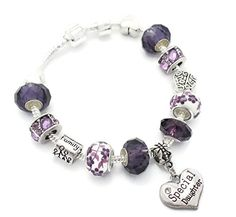 Purple Special Daughter Starter Charm Bracelet Pandora Style Gift Boxed 20cm. 20cm Silver Plated Charm Bracelet With Barrel Clasp. 14 x Silver Plated & Glass Charms With Purple Rhinestones PLUS 1 x Stopper Clip. Supplied Gift Wrapped In A Truly Charming Gift Box As Pictured. Compatible With Pandora Charms.