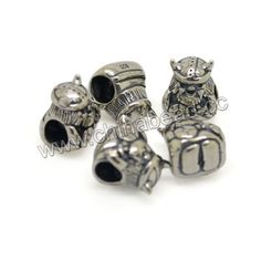 Metal beads, 925 sterling silver European bead in antique silver plating, Ancient Warrior, Approx 9.3x8.6x11.7mm, Hole: Approx 4.7mm, 10 pieces per bag, Sold by bags