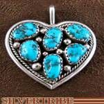 Native American Irvin Chee Sterling Silver and Turquoise Heart Pendant