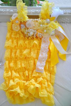 Embellished Yellow Lace Petti Romper for Girls