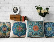 Free shipping gift bohemian zigzags diamonds circles abstract flower totem pattern Cushion Cover home decorative pillow Case(China (Mainland))