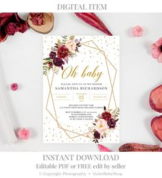 Pink Showers, Gold Baby Showers, Baby Shower Flowers, Floral Baby Shower, Baby Shower Themes, Baby Shower Decorations, Burgundy Baby Shower, Blush And Gold, Blush Pink