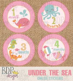 Under the Sea Onesie Stickers (also available as digital download)