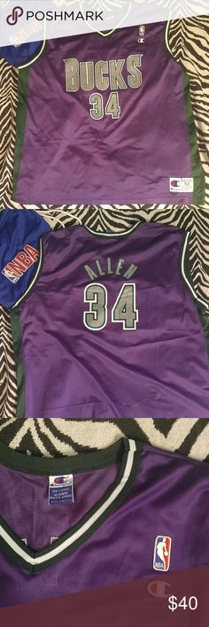 Vintage Champion Milwaukee Bucks Ray Allen jersey Beautiful jersey of one of the greatest shooters to ever live. This jersey is a rare find and is in absolutely fantastic shape! Perfect for any fan. Put some swag in your summer wardrobe! Champion Shirts