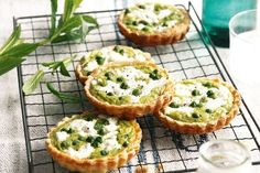 Pea and goat's cheese tarts