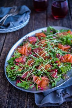 Smoked Salmon, Pomegranate and Quinoa Salad | The Hungry Australian