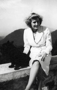 Unflattering photo of Eva Braun with Stasi or Negus, 1940. (via putschgirl)