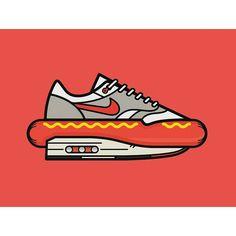 Today's menu: Air Max 1 x Hot Dog. Enjoy your meal! 🌭 . 👤Artist: @robantmay . #airmax #airmax1 #am1 #nike #nikeairmax #nikeair #vectorart #illustrationart #graphicdesigner #hotdog