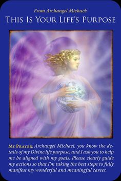 This is Yours Life's Purpose from Archangel Michael Oracle Cards. Pay attention to ideas which come to mind today- they are what you should be doing! #ArchangelMichael #lightworker #lifepurpose