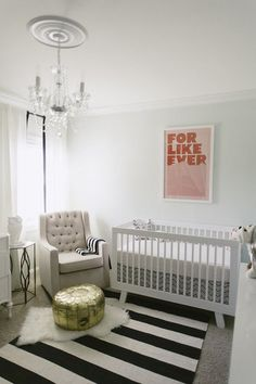 Mint And Pink Nursery With A Crystal Chandelier Moroccan Pouf Love But More
