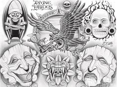 20 Chicano Art Tattoo Designs and Flashes - Chicano Eagle Aztec Art, Colorful Drawings, Mexican Art Tattoos, Prison Art, Lowrider Art, Chicano Art, Chicano Art Tattoos, Art, Mexican Art