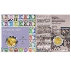 """Druhá tohtoročná grécka pamätná 2 euro minca bude venovaná """"2400 výročiu založenia platónskej akadémie"""". Tu je ilustračný obrázok mince v blistri, ktorých bude 7500 ks."""