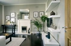 love the diagonal black stained wood floor