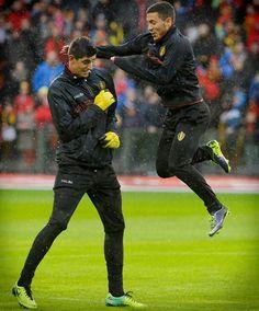 2014: THIBAUT COURTOIS and EDEN HAZARD on international duty for the Belgium national team...