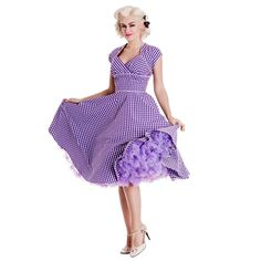 HELL BUNNY LAZY RIVER PINUP DRESS 1940 1950 RETRO VINTAGE PURPLE GINGHAM CIRCLE #HellBunny #Pinup #Casual
