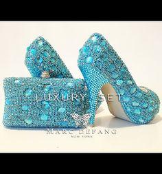 c868f9c6cf3e19 Blue mountain Snow Diamond LUXURY Peep toe and clutch bag SET Bling Heels