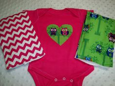 Owl and Chevron Print Bodysuit and Burp Cloth Set by grinsandgigglesbaby1, $25.00
