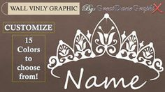 Princess Crown and Custom Name Wall Graphic Vinyl Decal Color High Quality | eBay