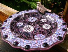 Purple mosaic bird bath