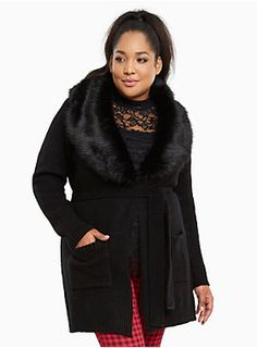 "A sweater coat so fabulous, people will start thinking you're rich and famous! The plush black knit already has you feeling luxurious, but the black faux fur collar takes your fanciness over the top. A hook closure and tie waist lend figure definition.<div><br></div><div><b>Model is 5'10"", size 1<br></b><div><ul><li style=""LIST-STYLE-POSITION: outside !important; LIST-STYLE-TYPE: disc !important"">Size 1 measures 39"" from shoulder</li><li style=""LIST-STYLE-POSITION: outside !impor..."