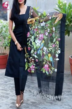 Buy Black Organza Hand painted Colorful Floral Stole by Colorauction - Online shopping for Stole in India Indian Fashion Dresses, Dress Indian Style, Indian Designer Outfits, Indian Wear, Stylish Dresses For Girls, Stylish Dress Designs, Simple Dresses, Fabric Paint Shirt, Fabric Painting