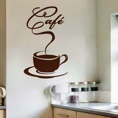 vinilos para cocina - Buscar con Google Coffee Cup Tattoo, Coffee Tattoos, Paper Snowflake Designs, Coffee Clipart, Coffee Zone, Hanging Room Dividers, Coffee Cards, Cafe Art, Coffee Shop Design