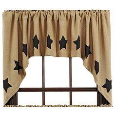 Burlap curtains with black barn stars