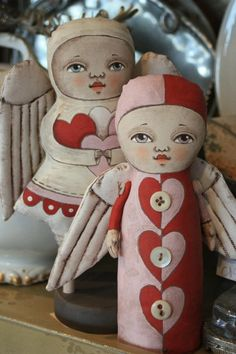 painted cloth dolls by Cart Before the Horse... artful-faces