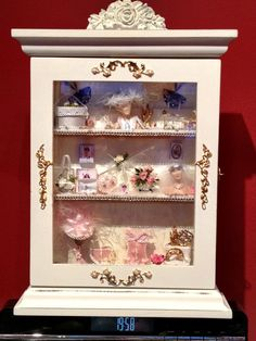Shabby Chic cabinet inc miniature accessories by kattykorner, $195.98