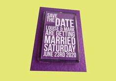 Save the date magnet with text