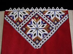 Deler til Fana bunad dame for salg Hardanger Embroidery, Paper Snowflakes, Norway, Bohemian Rug, Belts, Ornament, Rugs, Pattern, Diy