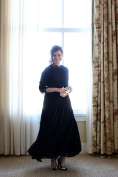 Modest black chiffon and lace dress. Modest apparel, bridesmaid dresses, ruffles, and lace! Women's sizes S-3X. www.daintyjewells.com