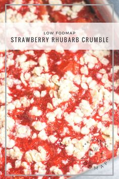 Low FODMAP Strawberry Rhubarb Crumble is a classic sweet-tart dessert that's extra delicious when served straight out of the oven with a little lactose-free ice cream. | funwithoutfodmaps.com | #strawberryrhurbarb #rhubarb #dessert #glutenfree #dairyfree #lowfodmap