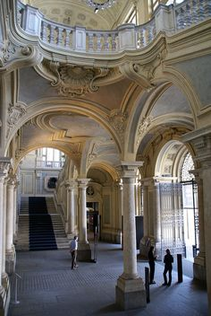 Torino, Palazzo Madama, Treppenhaus von Filippo Juvarra (stairwell by Filippo Juvarra). province of Turin , Piemonte region italy