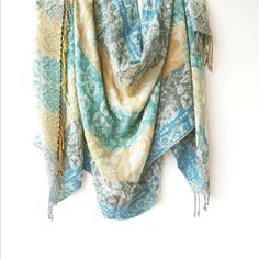 """Large square scarf, Winter shawls and wraps for ladies soft and comfortable, blue cream 170 x 70 cm 67"""" x 27"""""""