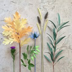 Crepe Paper Fall Greenery, Single Stem - Choose From: Hops, Willow Eucalyptus, Thistle, Blue Thistle, Wheat, or Oak Leaf - Home Decor