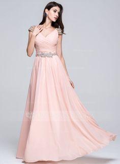 [US$ 148.99] A-Line/Princess V-neck Floor-Length Chiffon Prom Dress With Ruffle Beading Sequins