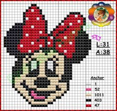 Minnie perler bead pattern by Carina Cassol grille point de croix minnie
