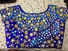 Blue Mirror Work Blouse