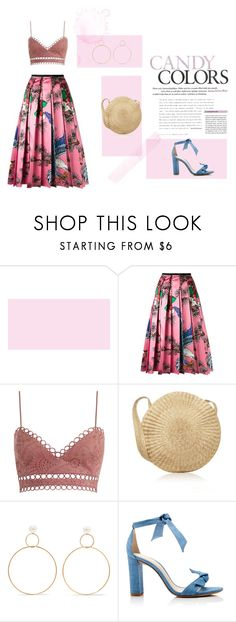"""""""Candy Colours"""" by lemoutonbleu-clothing on Polyvore featuring Gucci, Zimmermann, Natasha Schweitzer, Alexandre Birman, outfit, Pink, shoes, gucci and StrawBag"""