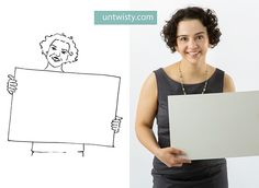 Description by untwisty.com:::::     When you take pictures for your website remember about taking a few where you hold a white blank piece of cardboard or something similar (the photo doesn't need to have a white background though).  It can be then filled with words or graphics by you or your designer!